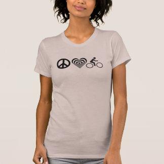 Camiseta bicicleta do amor da paz