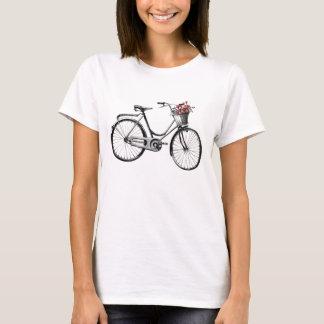Camiseta Bicicleta do vintage com os t-shirt da cesta da