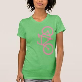 Camiseta Bicicleta, silhueta vertical, design cor-de-rosa