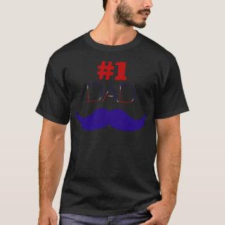 Camiseta Bigode branco do pai #1 e azul vermelho - número