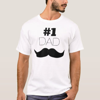 Camiseta Bigode do preto do pai #1 - número um