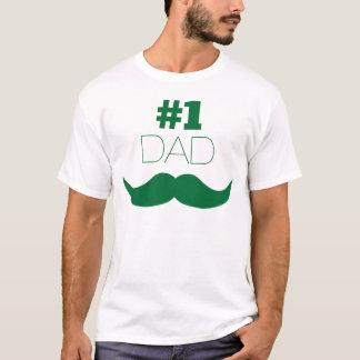 Camiseta Bigode do verde do pai #1 - número um