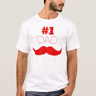 Camiseta Bigode vermelho do pai #1 - número um