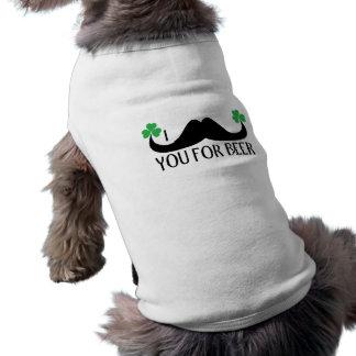 Camiseta Bigode você para o cão dos trevos do dia de St