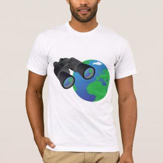 Camiseta Binóculos e t-shirt dos homens da terra