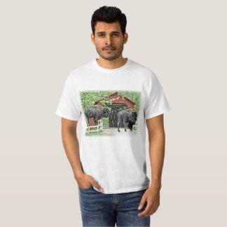 Camiseta Bisonte americano engraçado na ponte coberta