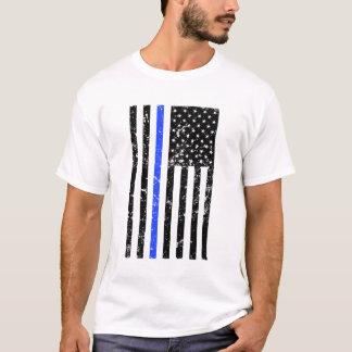 Camiseta Blue Line fino - bandeira dos EUA - polícia