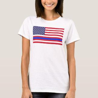 "Camiseta ""BLUE LINE FINO na BANDEIRA """