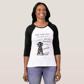 Camiseta Blusinha 3/4 feminina desenho cachorro e uma frase