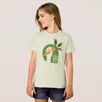 "Camiseta ""Boa comida para todo o"" Tshirt orgânico da menina"
