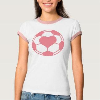 Camiseta Bola de futebol cor-de-rosa com coração