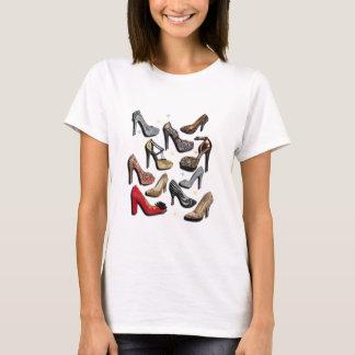 Camiseta Bombas da forma da faísca da colagem dos calçados