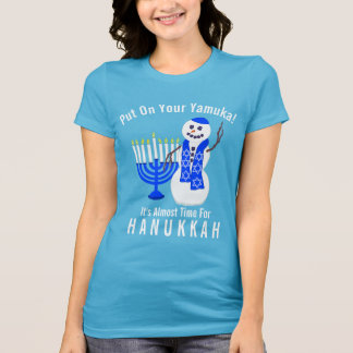 Camiseta Boneco de neve de Hanukkah bonito psto sobre seu