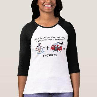 Camiseta Boneco de neve e vampiro com provérbio engraçado