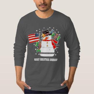 Camiseta Boneco de neve engraçado com as camisolas do Natal