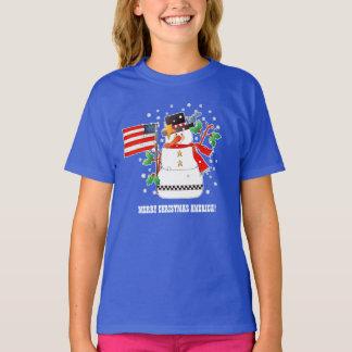 Camiseta Boneco de neve engraçado com os t-shirt do Natal