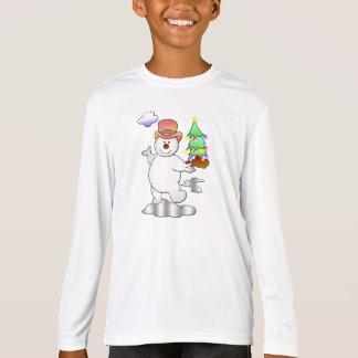 Camiseta Boneco de neve engraçado do Natal que está em uma