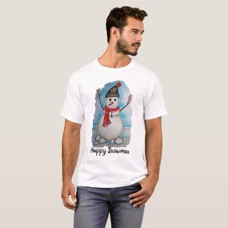 Camiseta Boneco de neve lindo da aguarela com lenço e
