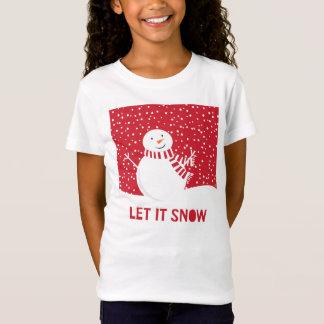 Camiseta boneco de neve vermelho e branco contemporâneo