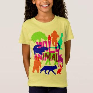 Camiseta Bonito brilhante colorido dos animais selvagens