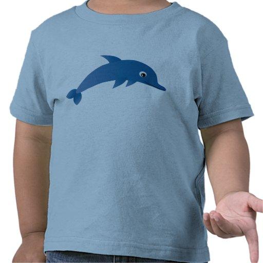 Camiseta bonito do azul do golfinho dos desenhos a