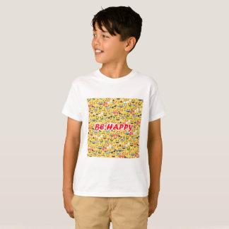 Camiseta Bonito seja texto feliz, teste padrão do sorriso