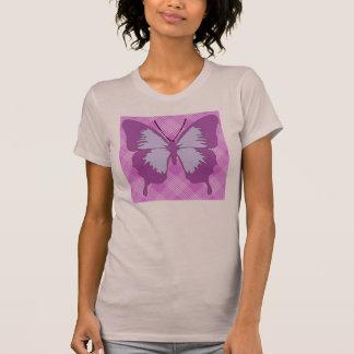 Camiseta Borboleta da consciência no Tartan roxo