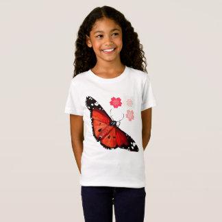 Camiseta BORBOLETA e flores de cerejeira BRILHANTES GRANDES
