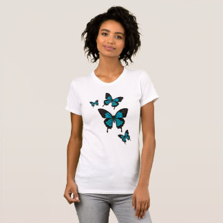 Camiseta Borboletas azuis brilhantes, borboleta da cauda da