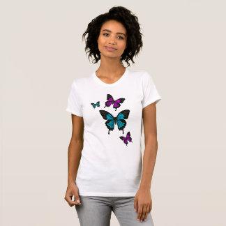 Camiseta Borboletas azuis/cor-de-rosa, borboleta da cauda