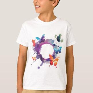 Camiseta Borboletas Pastel da aguarela em torno de um anel