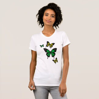 Camiseta Borboletas verdes/amarelas, borboleta da cauda da