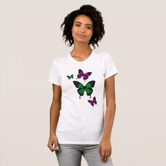 Camiseta Borboletas verdes/cor-de-rosa, borboleta da cauda