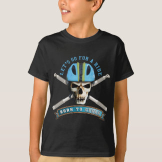 Camiseta Born to cycle - bicycle helmet skull