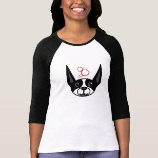 Camiseta Boston Terrier 3/4 de t-shirt do Raglan da luva