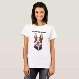 Camiseta Boston Terrier (vermelho/Brown) ilustrou o t-shirt