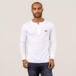Camiseta Botão preto da balsa acima do Tshirt longo da luva