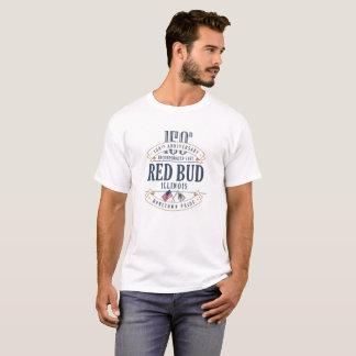 Camiseta Botão vermelho, t-shirt do branco do aniversário