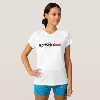 Camiseta #BothSidesDont - T Dobro-Seco do V-Pescoço do