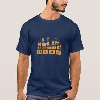 Camiseta botões alaranjados da música com t-shirt do