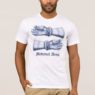 Camiseta Braços & armadura medievais - mãos nas luvas