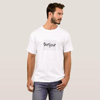 "Camiseta branca agradável: ""Bonjour"", olá! em"