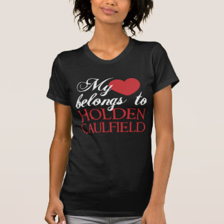 Camiseta Branco do amor de Holden Caulfield no preto