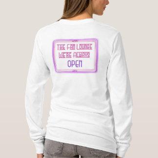 Camiseta Branco do L/S das mulheres o rosa do logotipo da