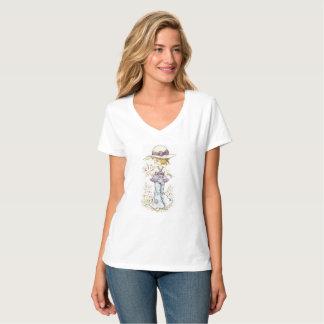 Camiseta Branco do t-shirt do V-Pescoço de Sarah Kay