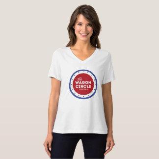 Camiseta Branco do V-Pescoço das mulheres do WC e azul