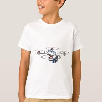 Camiseta Branco do zangão de Quadcopter e azul vermelhos