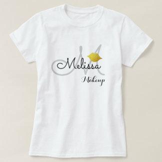 Camiseta branco uniforme do salão de beleza da composição