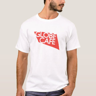 Camiseta Branco vermelho do café do globo