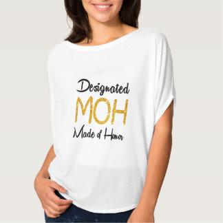 Camiseta Brilho designado do ouro da madrinha de casamento